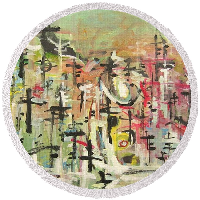 Blow Me Down Painting Round Beach Towel featuring the painting Blow Me Down11 by Seon-Jeong Kim