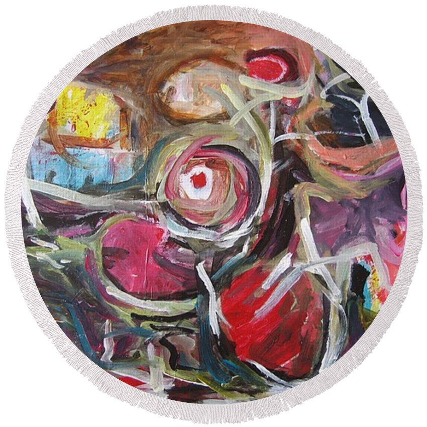 Abstract Paintings Round Beach Towel featuring the painting Abandoned Ideas3 by Seon-Jeong Kim