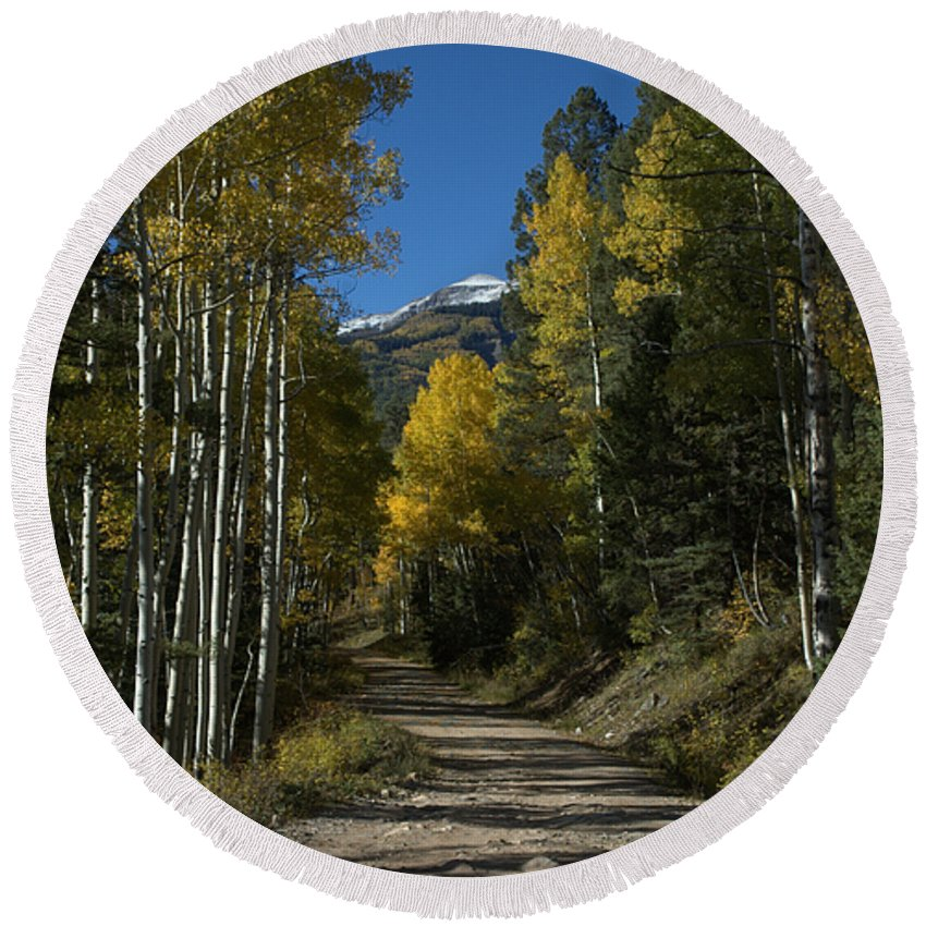 Aspen Round Beach Towel featuring the photograph Aspen Lane by Jerry McElroy