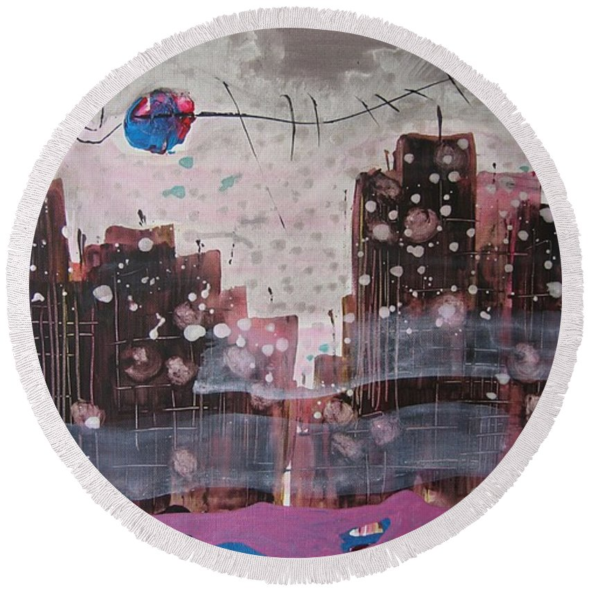 Brown Paintings Round Beach Towel featuring the painting Cityscape by Seon-Jeong Kim