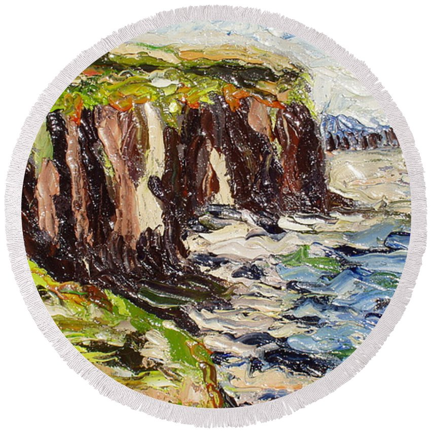 Abstract Paintings Round Beach Towel featuring the painting Cliff by Seon-Jeong Kim