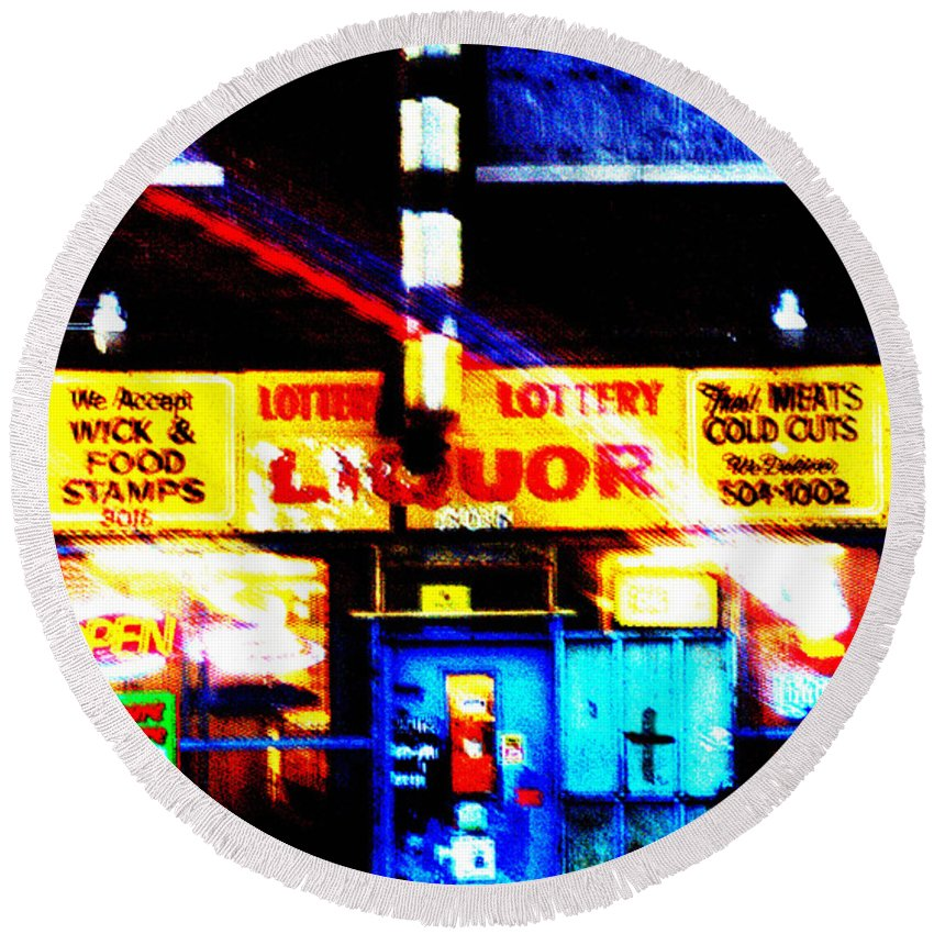 Store Round Beach Towel featuring the photograph Corner Store by Albert Stewart