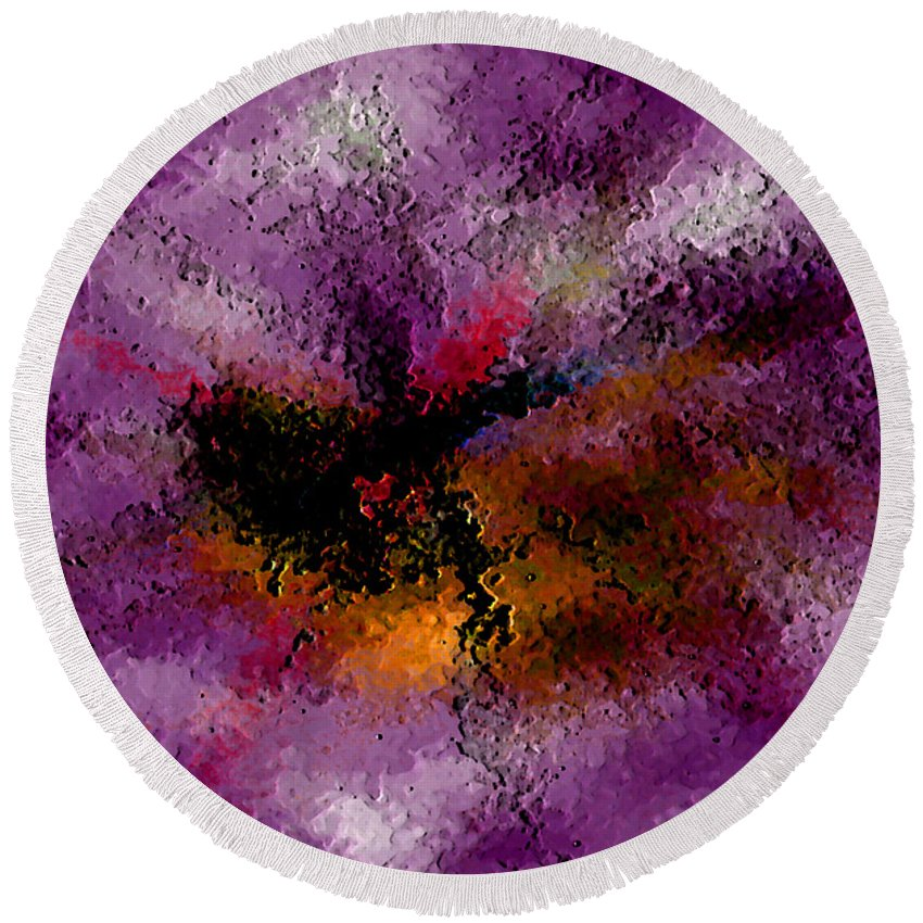 Abstract Round Beach Towel featuring the digital art Damaged But Not Broken by Ruth Palmer