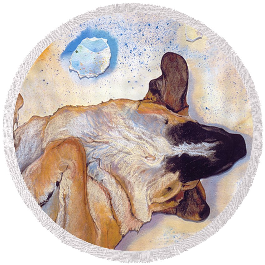 Sleeping Dog Round Beach Towel featuring the painting Dog Dreams by Pat Saunders-White