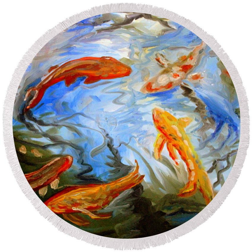 Oil Round Beach Towel featuring the painting Fish Reflections by Elizabeth Robinette Tyndall