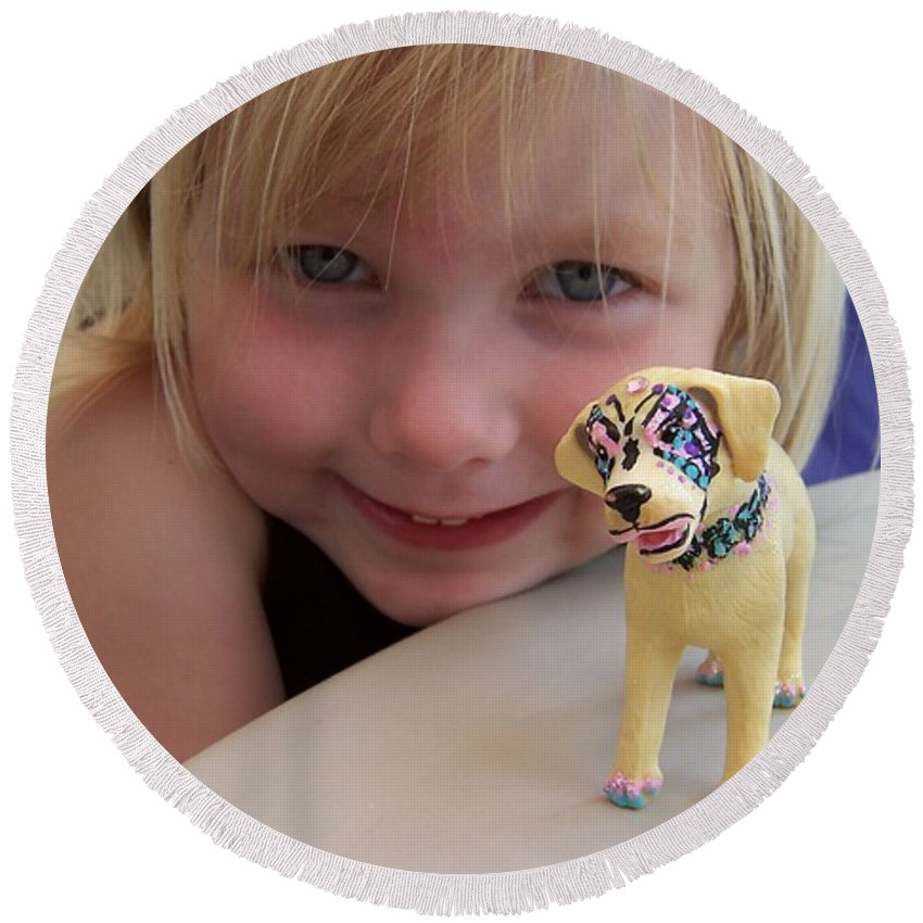 Kids Photo Round Beach Towel featuring the painting Lacey's Face Painted Dog by Deahn   Benware