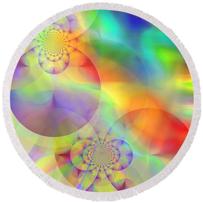 Abstract Round Beach Towel featuring the digital art Mind Over Matter by Ruth Palmer