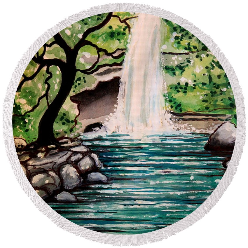 Tropical Round Beach Towel featuring the painting Mystical Waterfall by Elizabeth Robinette Tyndall