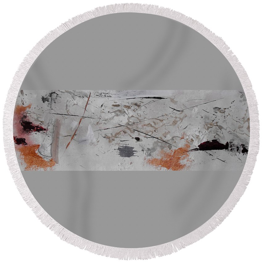Abstract Round Beach Towel featuring the painting Righteous Judgment Two Long by Ruth Palmer