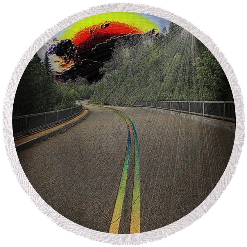 Road Round Beach Towel featuring the digital art Road To Darkness by Michael Damiani