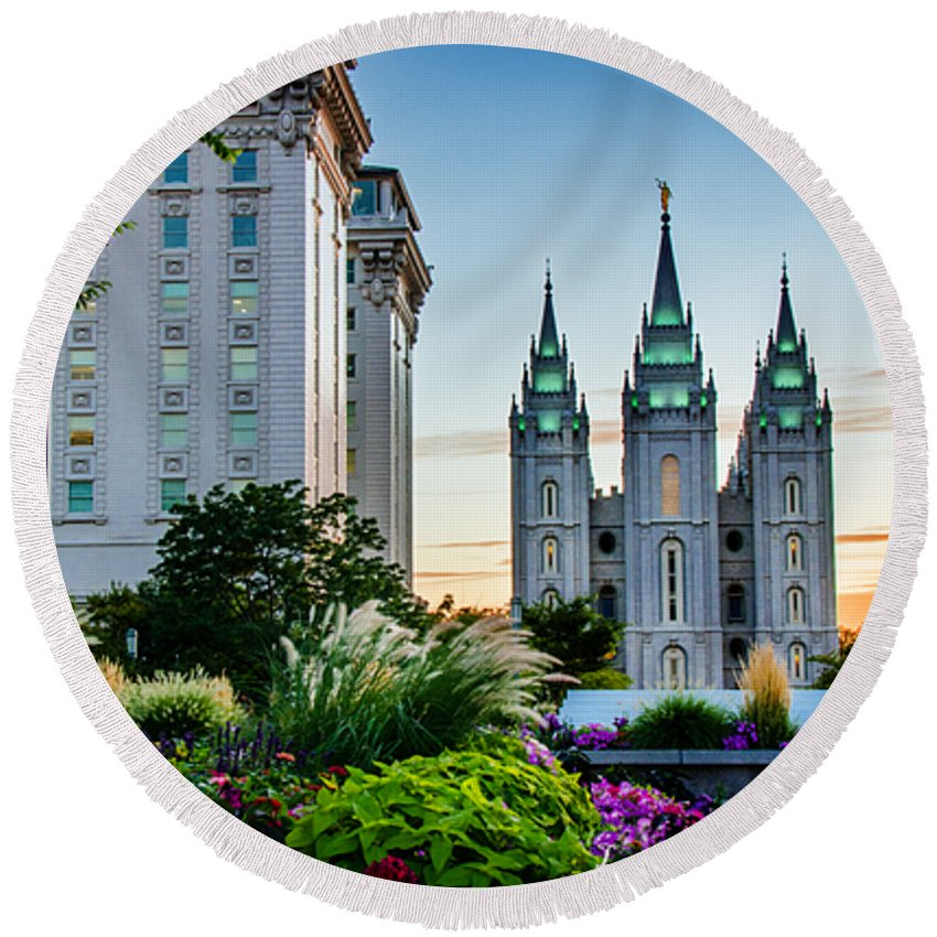 Mormon Temple Photography Round Beach Towel featuring the photograph Slc Temple Js Building by La Rae Roberts