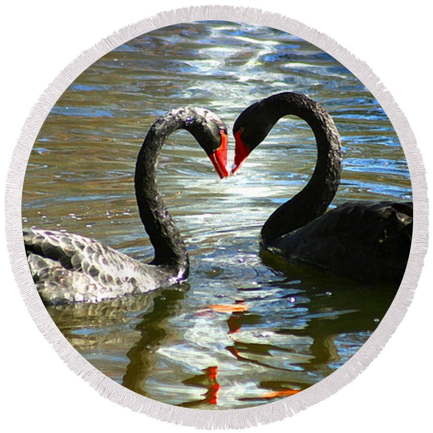 Swan Round Beach Towel featuring the digital art Swan Heart by Anthony Jones