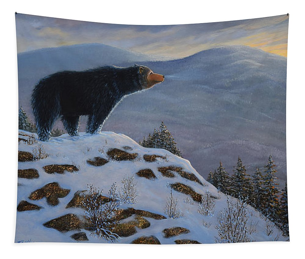 Wildlife Tapestry featuring the painting Last Look Black Bear by Frank Wilson