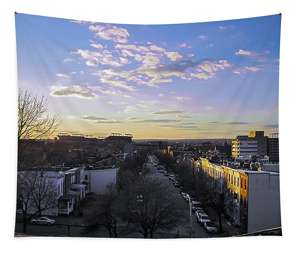 2d Tapestry featuring the photograph Sunset Row Homes by Brian Wallace