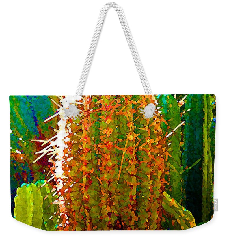 Succulent Weekender Tote Bag featuring the painting Backlit Cactus by Amy Vangsgard