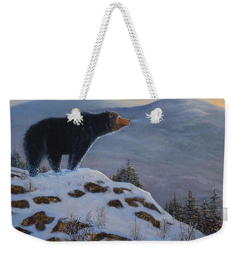 Wildlife Weekender Tote Bag featuring the painting Last Look Black Bear by Frank Wilson