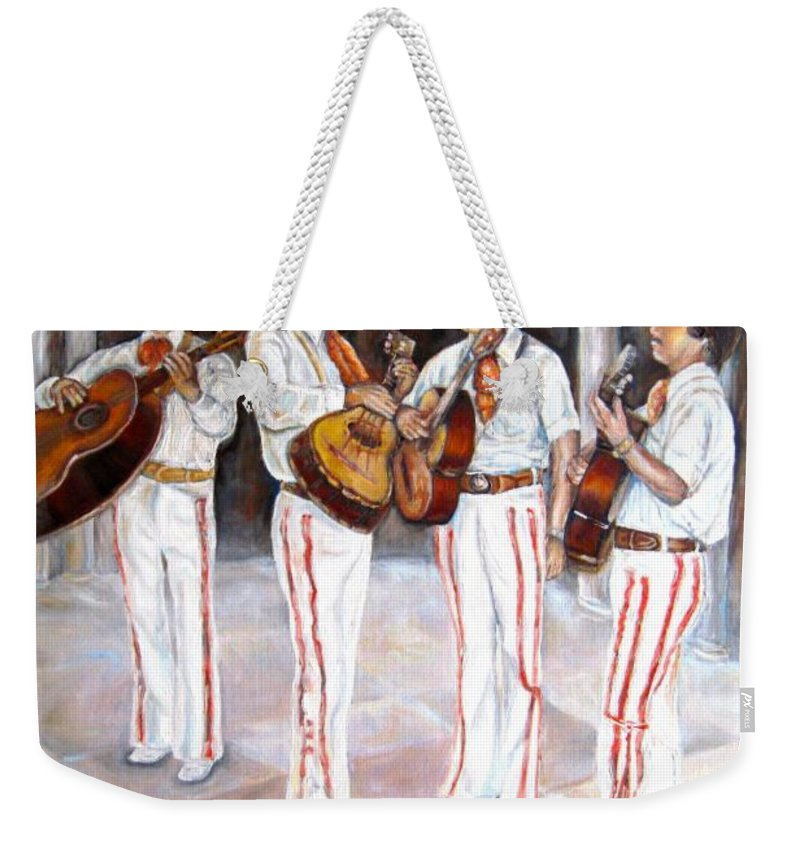 Mariachis Weekender Tote Bag featuring the painting Mariachi Musicians by Carole Spandau