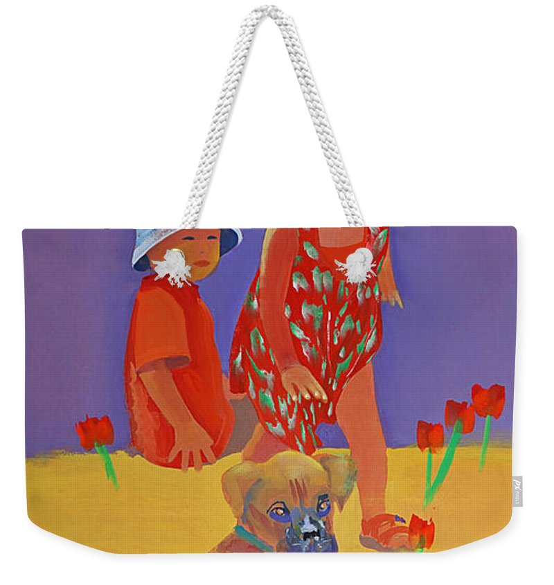 Boxer Dog Weekender Tote Bag featuring the painting The Boxer Puppy by Charles Stuart