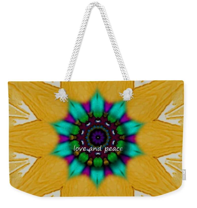 Collageart Weekender Tote Bag featuring the mixed media Love And Peace Art by Pepita Selles