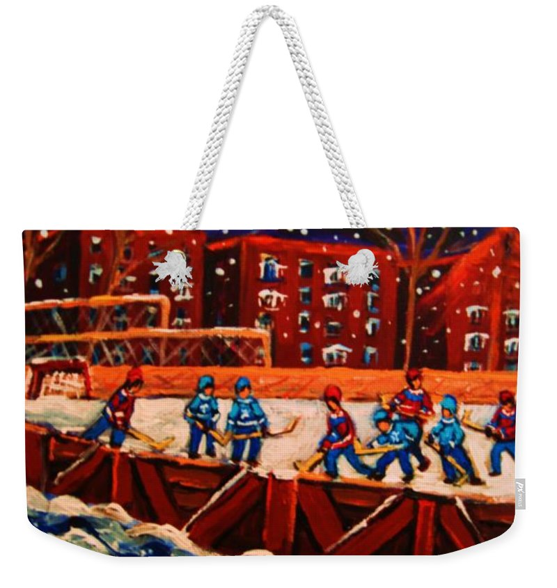 Ice Hockey Weekender Tote Bag featuring the painting Snow Falling On The Hockey Rink by Carole Spandau
