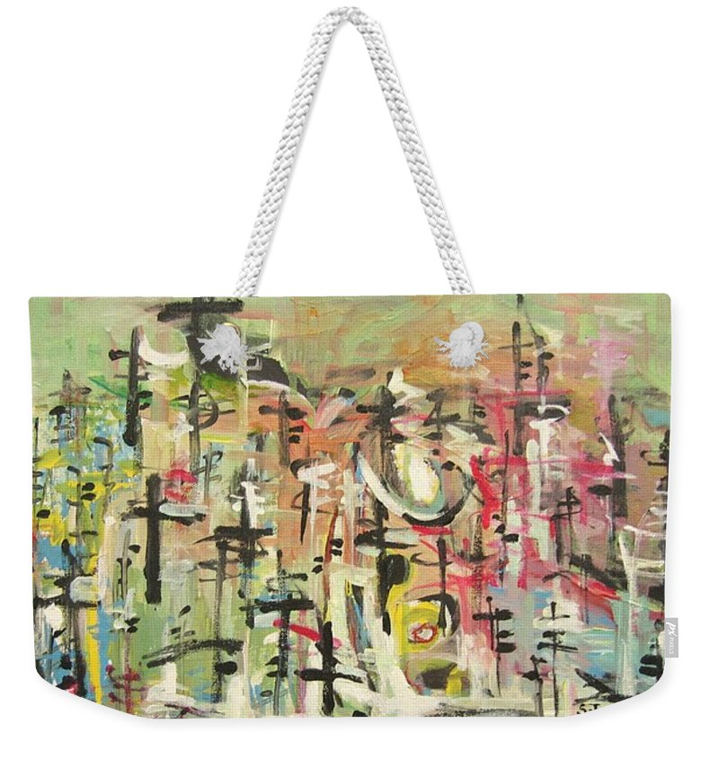 Blow Me Down Painting Weekender Tote Bag featuring the painting Blow Me Down11 by Seon-Jeong Kim