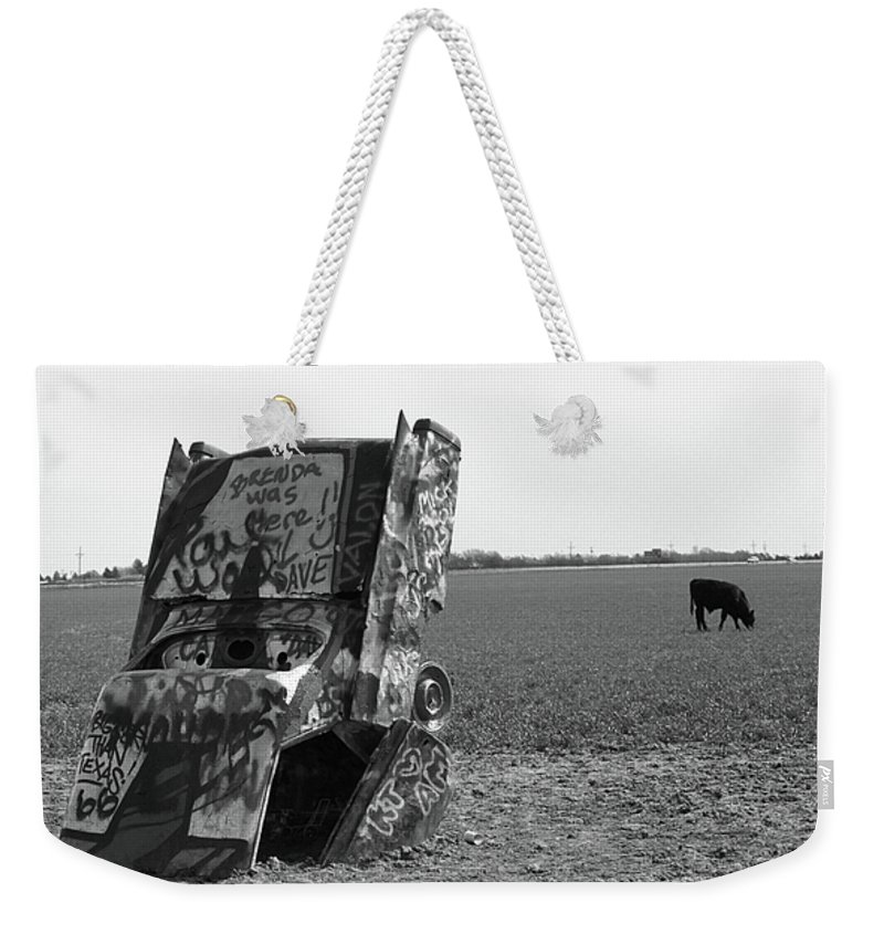 66 Weekender Tote Bag featuring the photograph Route 66 - Cadillac Ranch by Frank Romeo