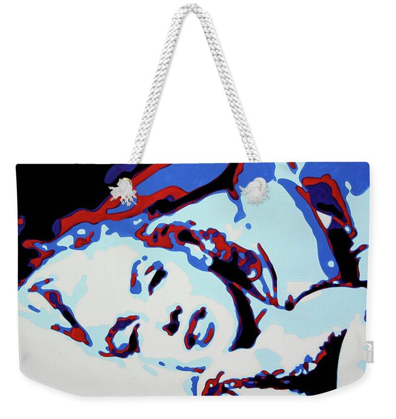 Marilyn Monroe Weekender Tote Bag featuring the painting Marilyn by Luis Ludzska
