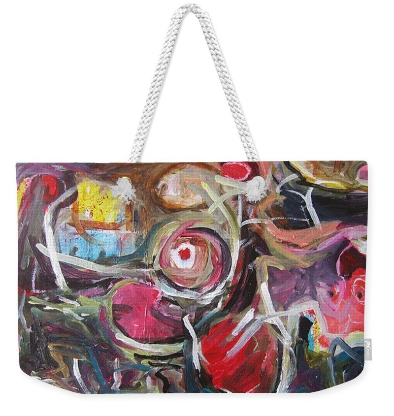 Abstract Paintings Weekender Tote Bag featuring the painting Abandoned Ideas3 by Seon-Jeong Kim