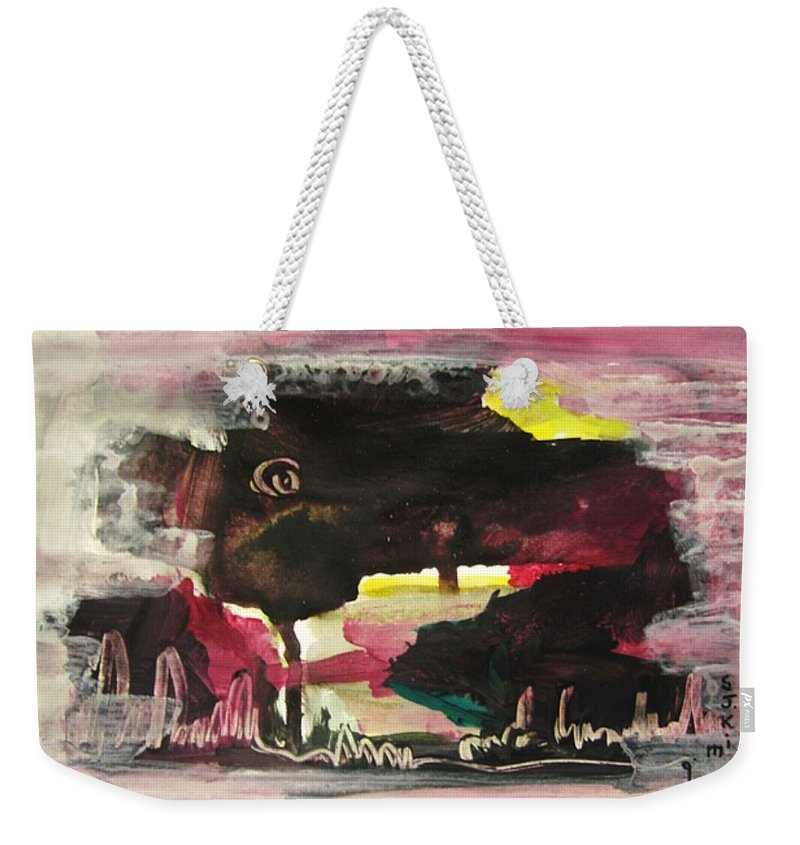 Dusk Paintings Weekender Tote Bag featuring the painting Abstract Twilight Landscape71 by Seon-Jeong Kim