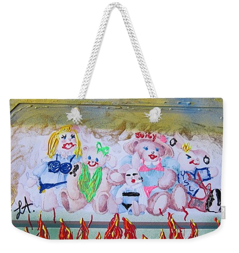 Adult Weekender Tote Bag featuring the painting Bad Bears by Lisa Piper