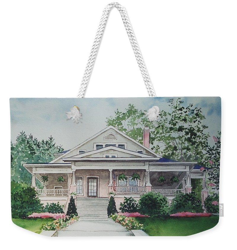 Print Of Blowing Rock Building Weekender Tote Bag featuring the painting Blowing Rock Office by Maggie Clark