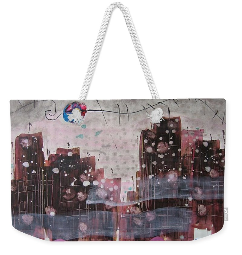 Brown Paintings Weekender Tote Bag featuring the painting Cityscape by Seon-Jeong Kim