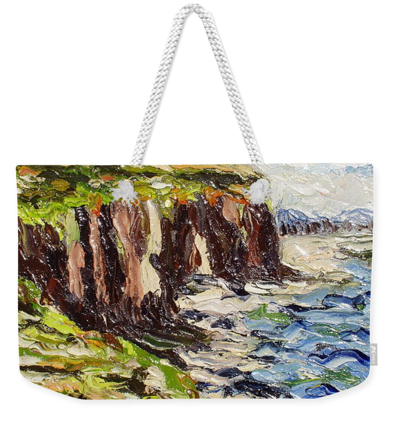 Abstract Paintings Weekender Tote Bag featuring the painting Cliff by Seon-Jeong Kim