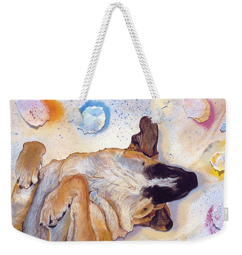 Sleeping Dog Weekender Tote Bag featuring the painting Dog Dreams by Pat Saunders-White