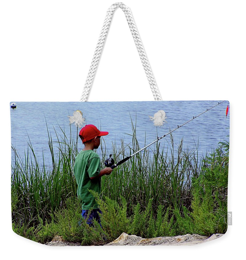 Kids Fishing Weekender Tote Bag featuring the photograph Fishing At Hickory Mound by Marilyn Holkham