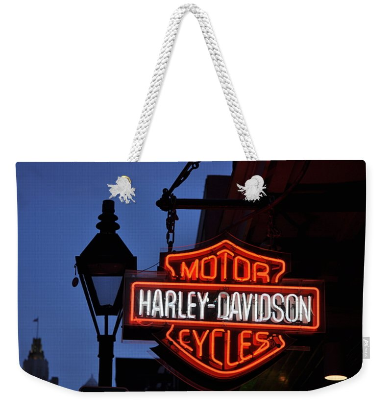Harley Davidson New Orleans Weekender Tote Bag featuring the photograph Harley Davidson New Orleans by Bill Cannon
