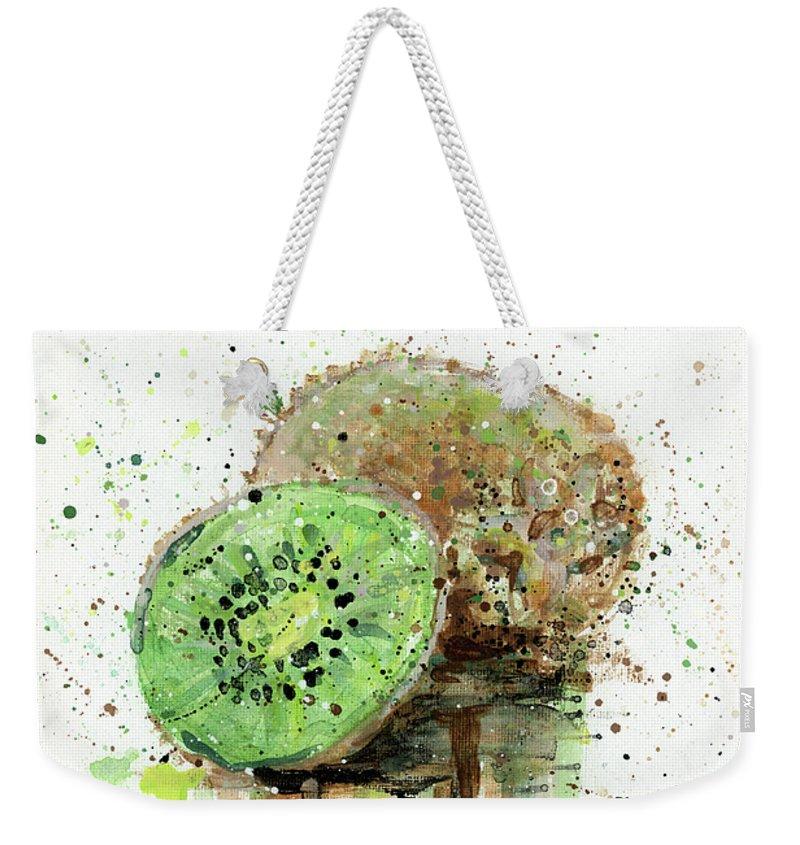 Kiwi Weekender Tote Bag featuring the painting Kiwi 1 by Arleana Holtzmann