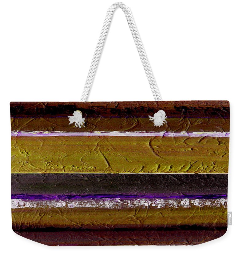 Abstract Weekender Tote Bag featuring the painting Lined Up by Ruth Palmer