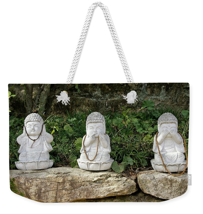 Asia Weekender Tote Bag featuring the photograph See Hear Speak No Evil by Michele Burgess