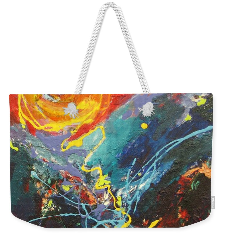 Abstract Paintings Weekender Tote Bag featuring the painting The Narrows by Seon-Jeong Kim