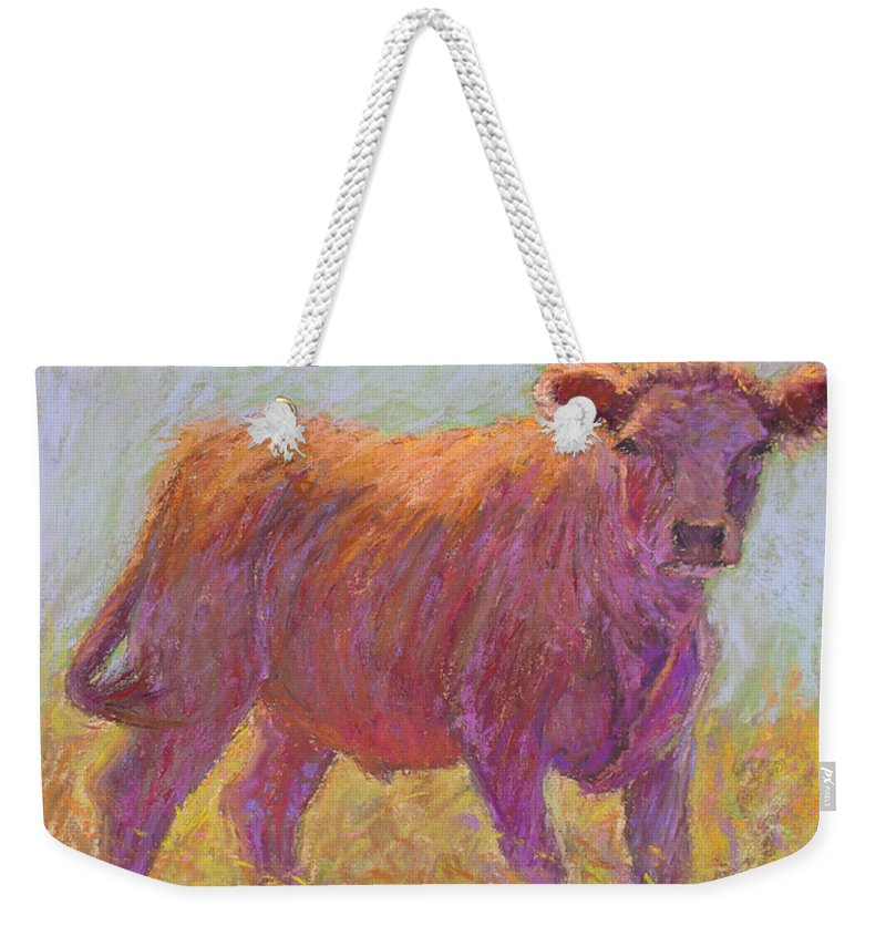 Cows Weekender Tote Bag featuring the painting The Scout by Susan Williamson