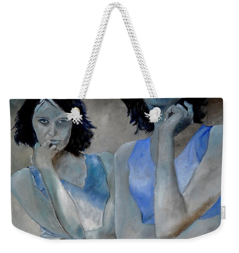 Model Weekender Tote Bag featuring the painting Twins by Pol Ledent