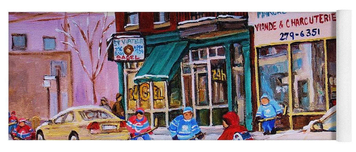 Montreal Yoga Mat featuring the painting St. Viateur Bagel With Boys Playing Hockey by Carole Spandau