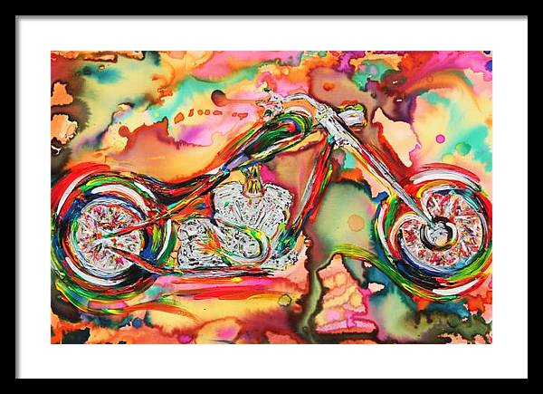 Motorcycle Framed Print featuring the painting Chameleon Lowrider by Van David