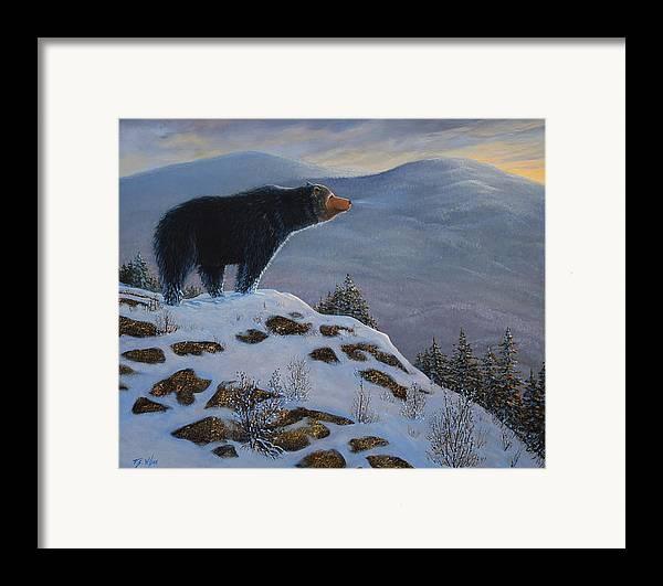 Wildlife Framed Print featuring the painting Last Look Black Bear by Frank Wilson