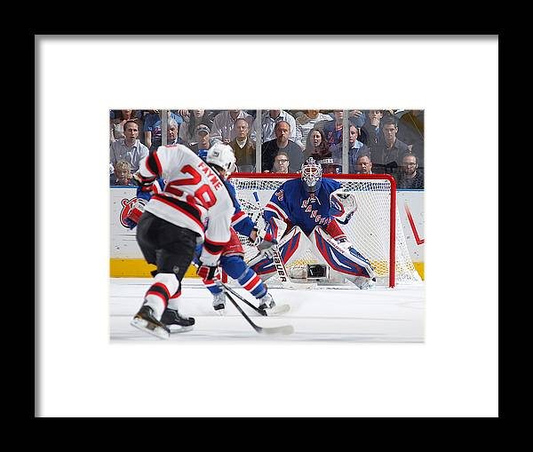 4dfc54d23 Playoffs Framed Print featuring the photograph New Jersey Devils V New York  Rangers - Game Two