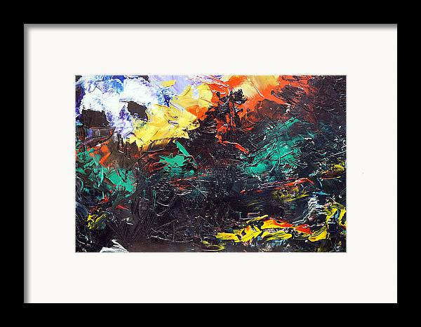 Vision Framed Print featuring the painting Schizophrenia by Sergey Bezhinets