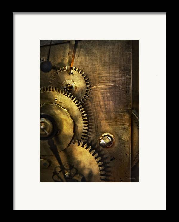Clock Framed Print featuring the photograph Steampunk - Toothy by Mike Savad