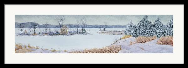 Panorama Framed Print featuring the painting Winter Lake And Cedars by Garry McMichael