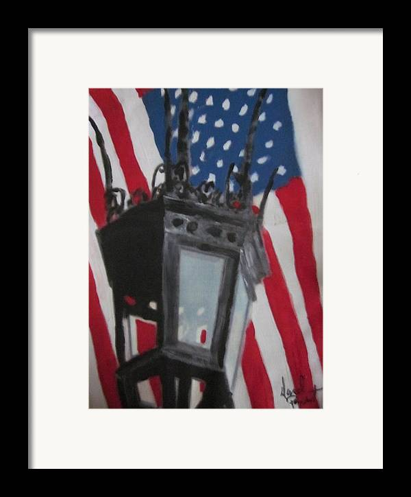 Boston Framed Print featuring the painting Boston Lightpost by David Poyant